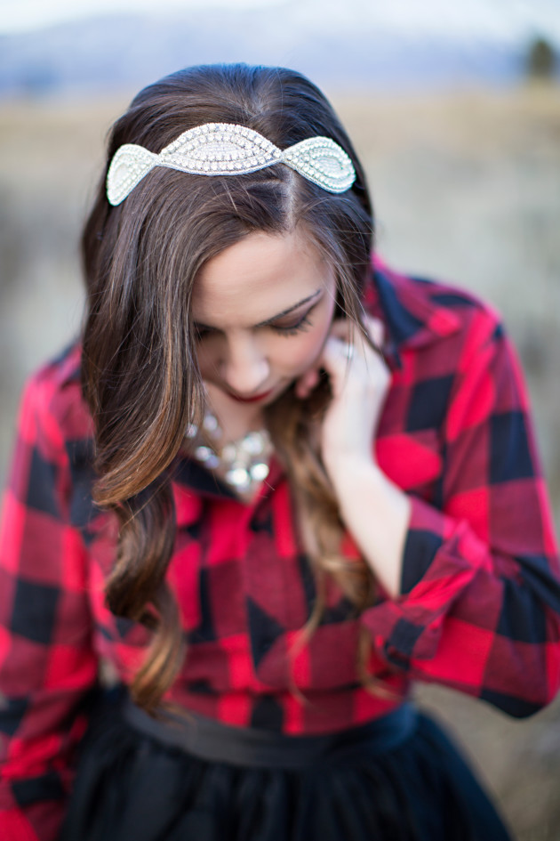 Bling Rhinestone Headband styled with A Plaid and Tulle Christmas Look styled by ourlovelydeseret.com