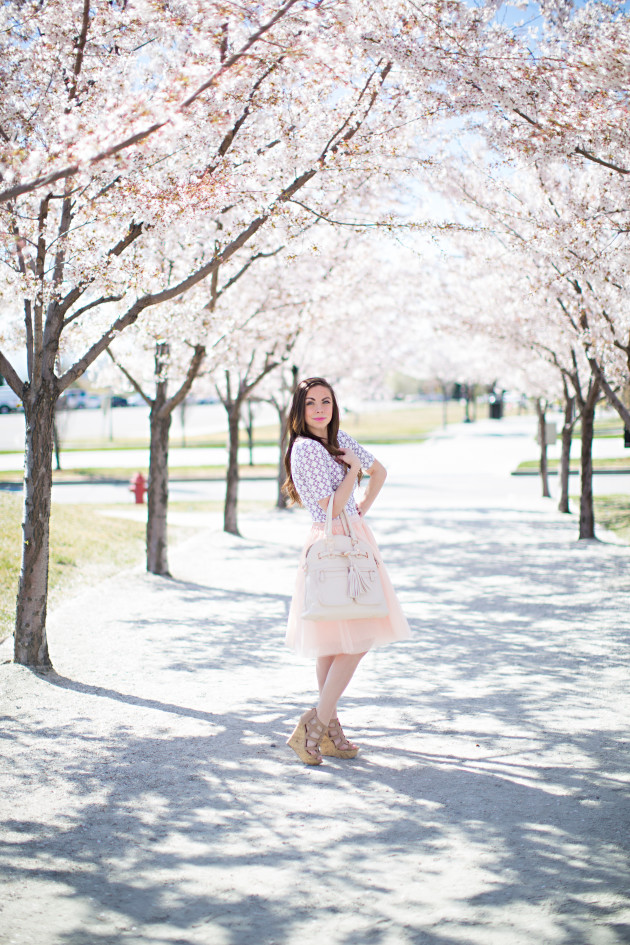 Blush pink tulle skirt easter sunday style perfect for spring styled by fashion blogger Lovely Deseret and photographed by Diana Putnam Photography