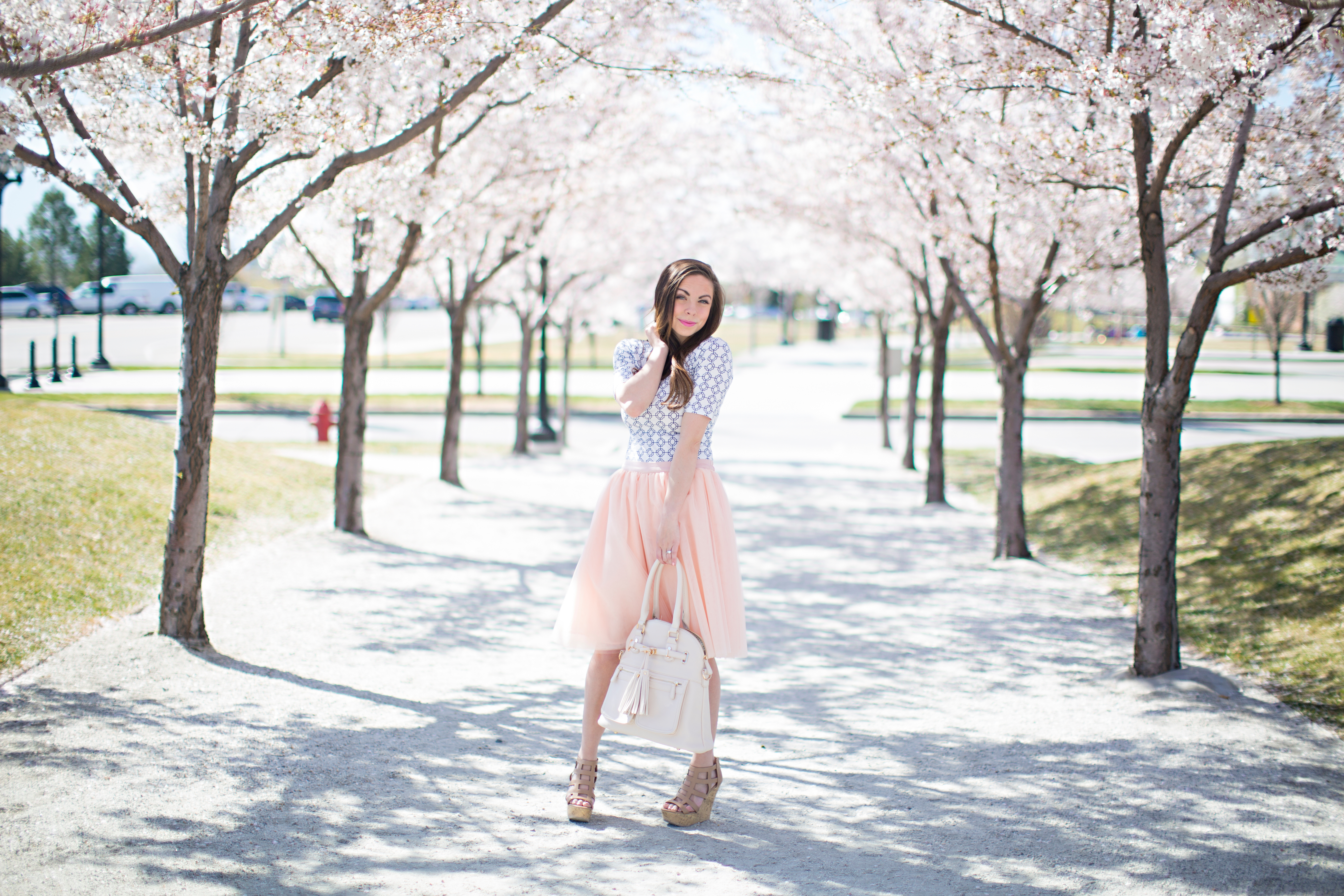 95b9639e9f ... Blush pink tulle skirt easter sunday style perfect for spring styled by  fashion blogger Lovely Deseret ...