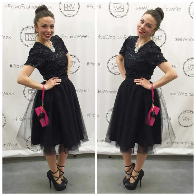 Provo Fashion Week VIP Kickoff Party Lovely Deseret in a ballerina-inspired black cocktail tulle skirt look