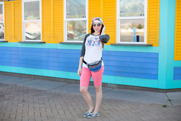 Frozen themed Disneyland outfit with a fanny pack styled by modes fashion blogger Lovely Deseret. Photographed by Diana Putnam Photography