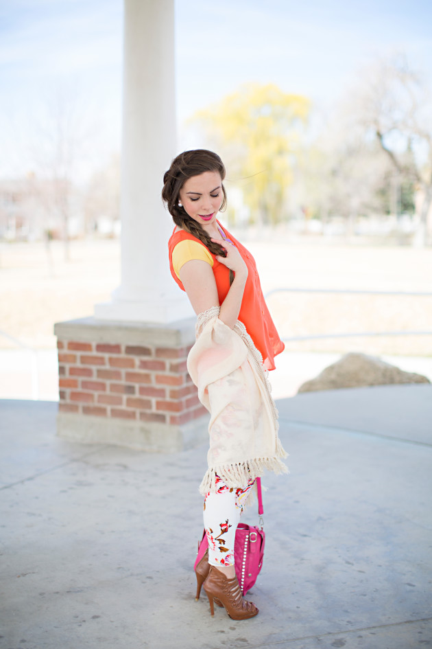 fringed kimono and floral leggings look styled by Lovely Deseret photography by Diana Putnam Photography