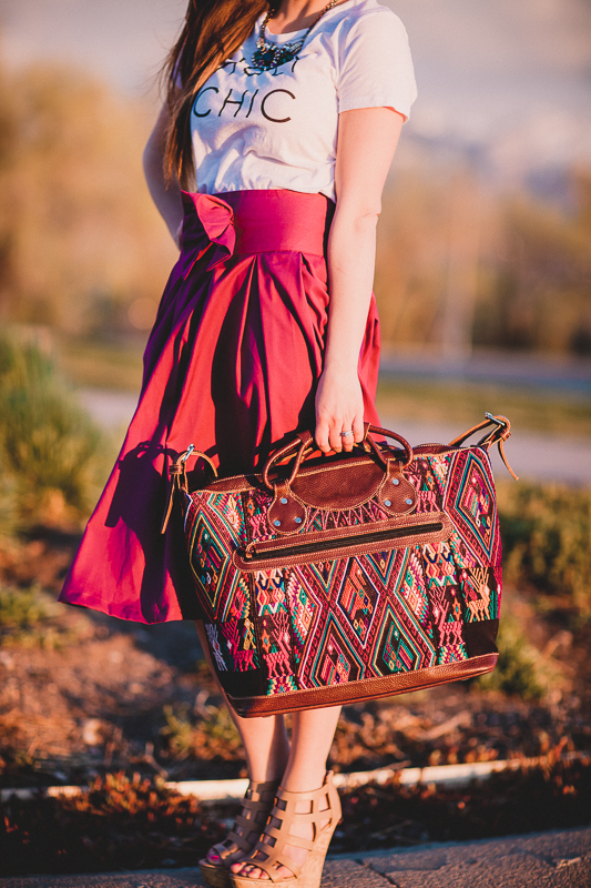 Guatemalan Bag Made Of A Huipil And Purple Bow Midi Skirt Styled By Modest Fashion