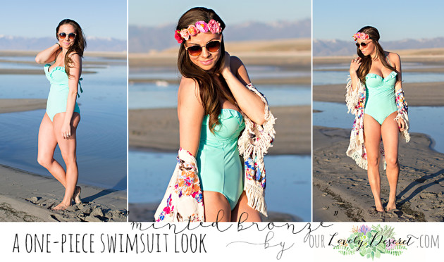 A mint one-piece swimsuit styled by modest fashion blogger Lovely Deseret photographed by Diana Putnam Photography