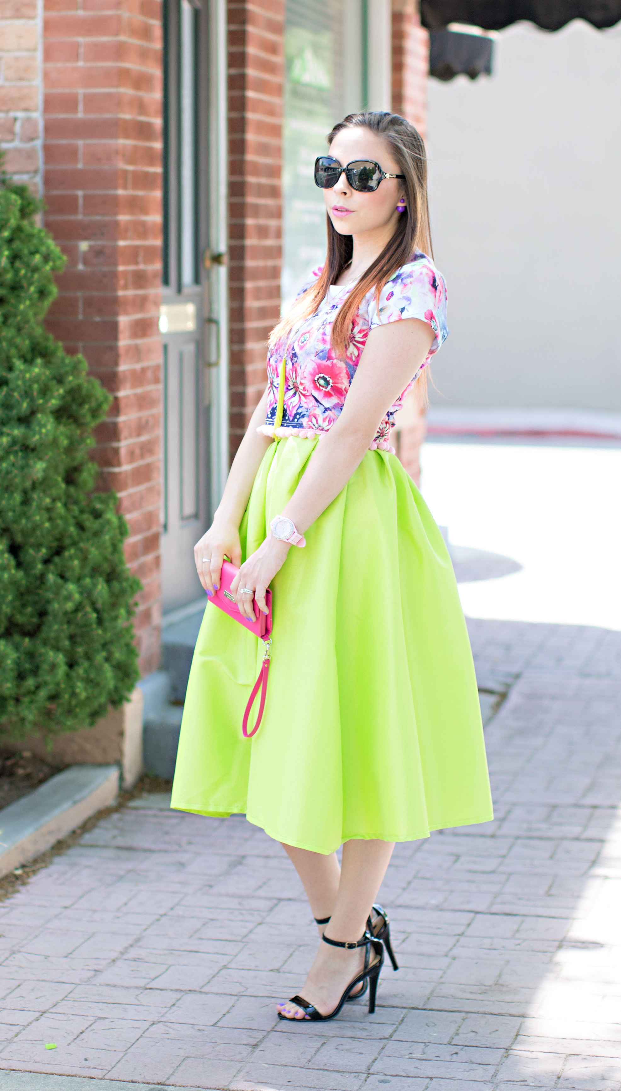 """Strawberry Limeade"" Modest Crop Top and Midi Skirt"