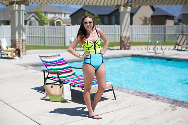 Modest Fashion Blogger Lovely Deseret styles a modest neoprene swimsuit from Radswim. Photos by utah photographer Diana Putnam Photography.