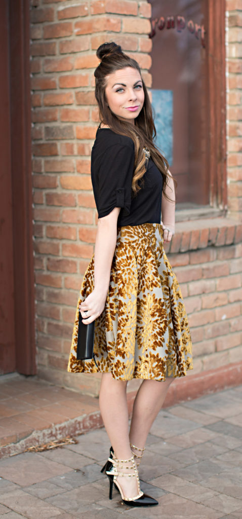 Modest Goddess styles a gold Leaf modest velvet skirt by Natalie Wynn Design with rockstuds.