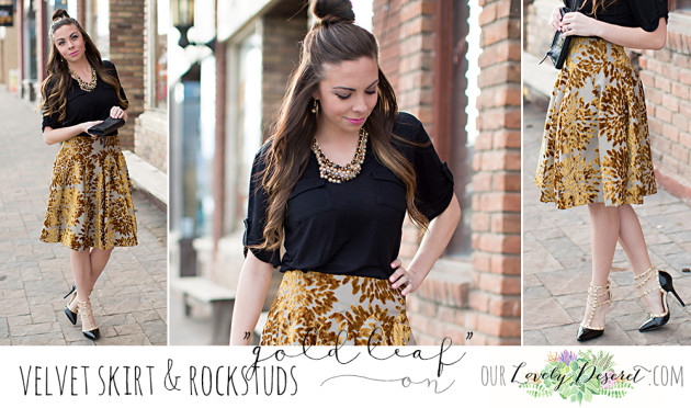 Modest Fashion Blogger lovely Deseret styles a midi skirt with velvet details designed by Utah fashion designer Natalie Wynn Designs. photoshoot in downtown Lehi, UT, photography by Diana Putnam Photography