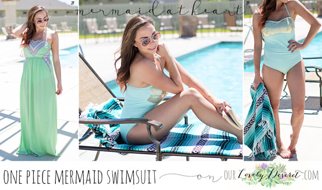 Modest Fashion Blogger Lovely Deseret styles a modest one piece mermaid swimsuit. Photo by Diana Putnam Photography