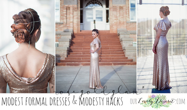 Modest Fashion Blogger Lovely Deseret Styles a modest formal dress, a rose gold dress, fit for a gala.