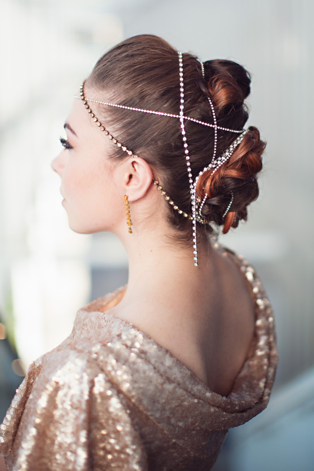 Gold chain headpiece and rhinestone chain updo for a formal event like homecoming, prom, a wedding, pageant, or date night.