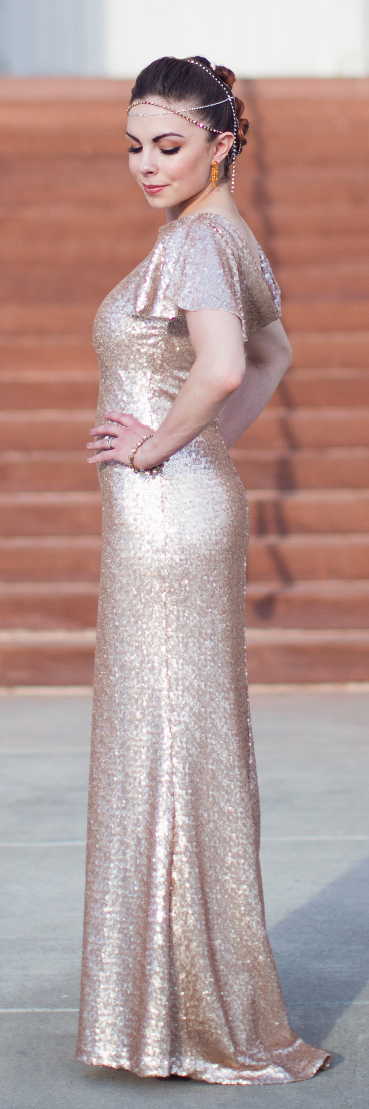 """Rose Gold Glam"" Modest Rose Gold Sequin Dress"