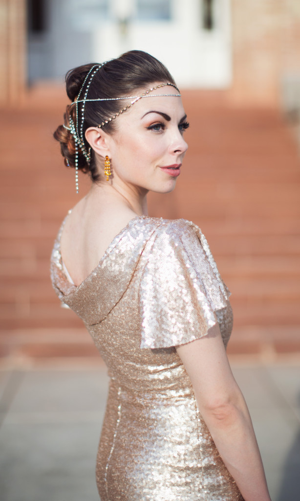 Modest Fashion Blogger Lovely Deseret Styles a modest formal dress, a rose gold dress, fit as a modest homecoming dress, modest prom dress, a modest formal dress for a gala, a modest bridesmaid dress, a modest anniversary date night dress, a modest gala dress, or a modest pageant dress.