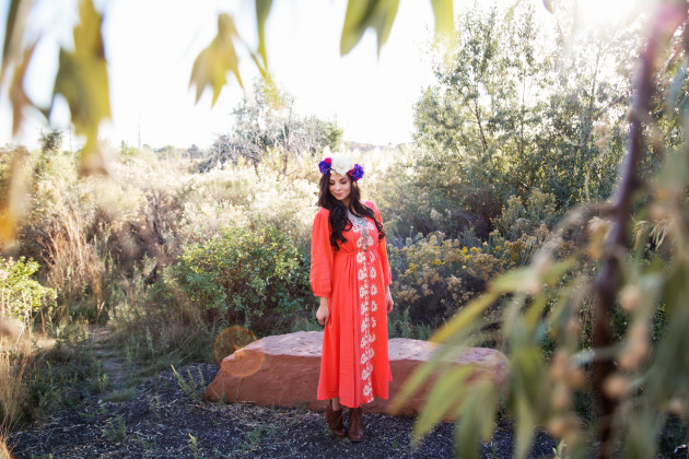 Modest Fashion blogger styles this coral boho dress from hot commodesty with a modest half tee, flower crown, and booties.