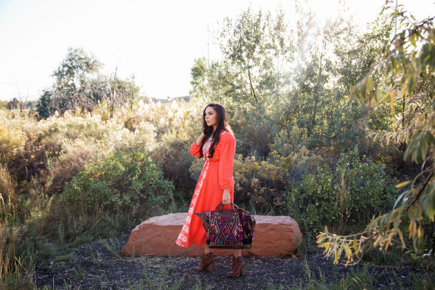 Modest Fashion blogger styles this coral boho dress from hot commodesty with a modest half tee, and booties.