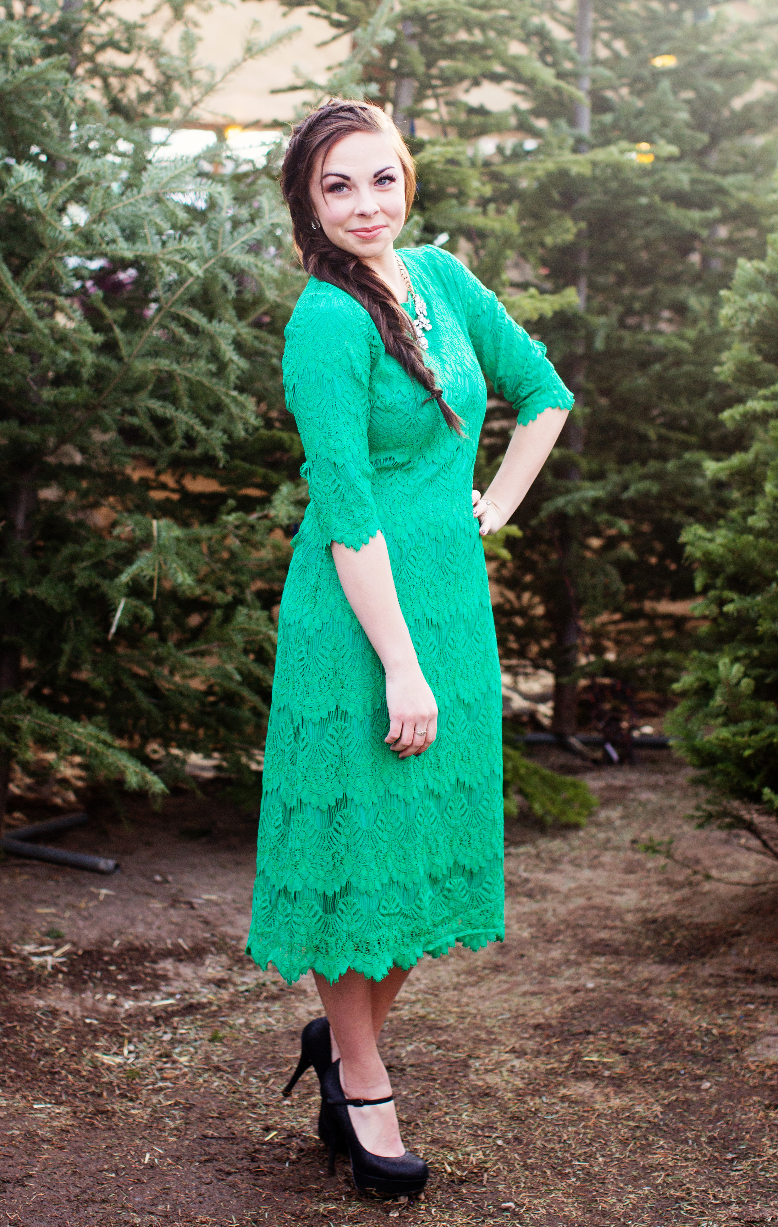 """Deck the Dresses"" Modest Green Lace Dress"