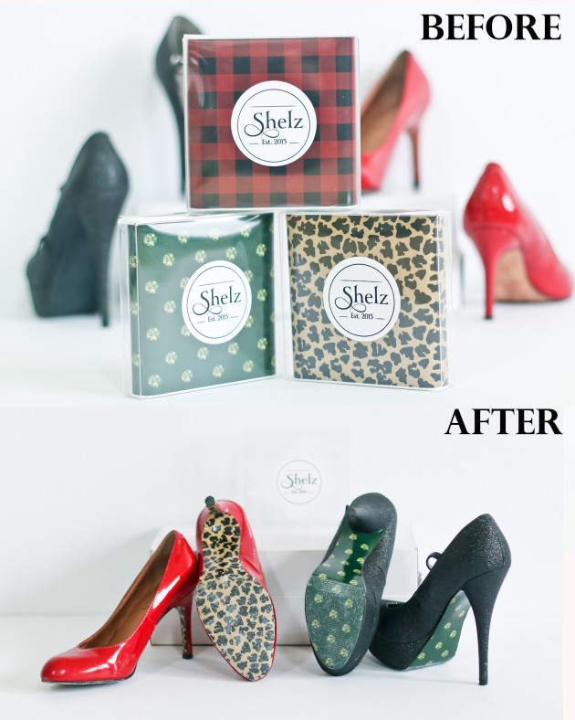 shelz shoe wraps before and after application