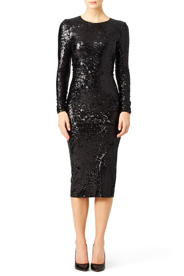 Donna Karan New York modest black sequin dress via Rent the Runway