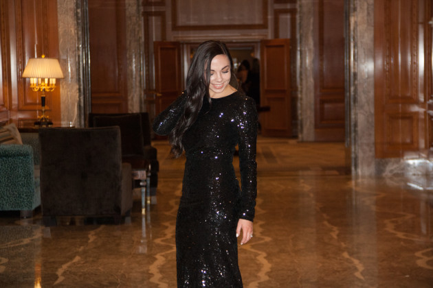 modest black sequin dress with long sleeves from Rent the Runway