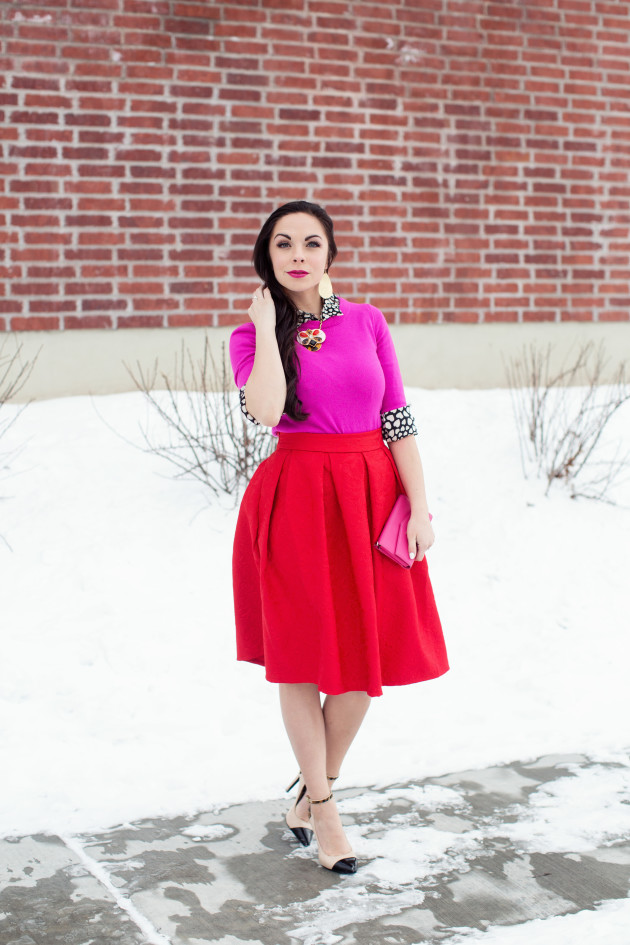 Modest fashion blogger Modest Goddess styles a Kate Spade Inspired modest pink and red Valentine's Day outfit.