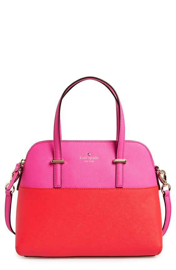 pink and red kate spade bag