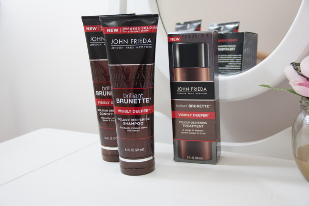Brilliant Brunette® Visibly Deeper™ Shampoo and Conditioner and Treatment for deeper brunette color in the shower.