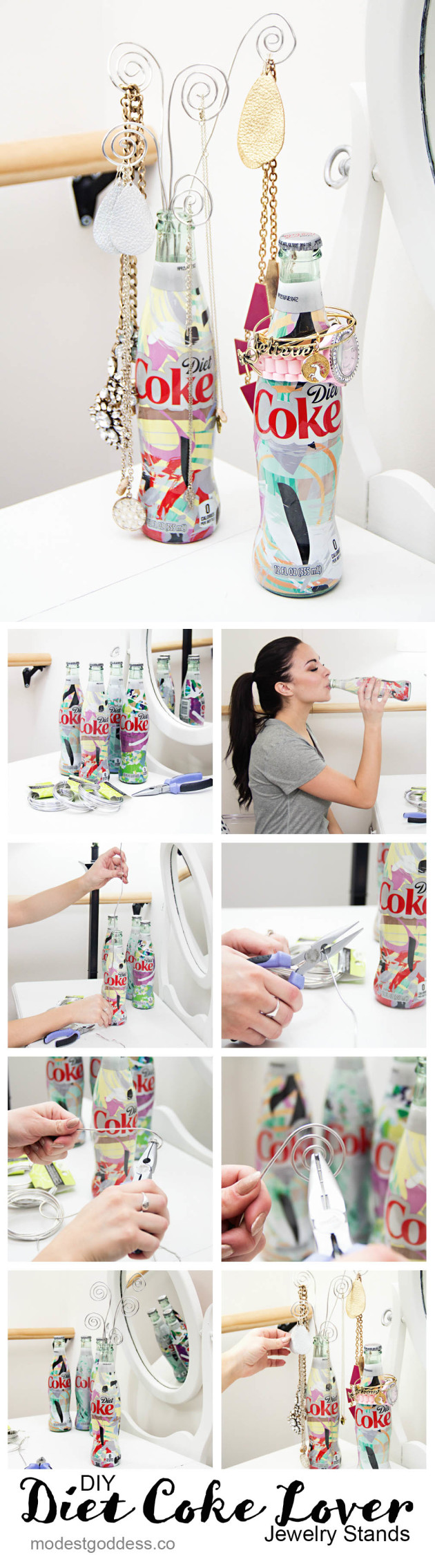 Fashion blogger Modest Goddess gives a tutorial of how to make DIY jewelry displays out of Diet Coke bottles.
