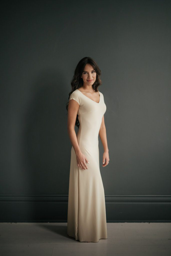 Lizzy Slip nude maxi slip for layering under immodest clothing to make it modest.