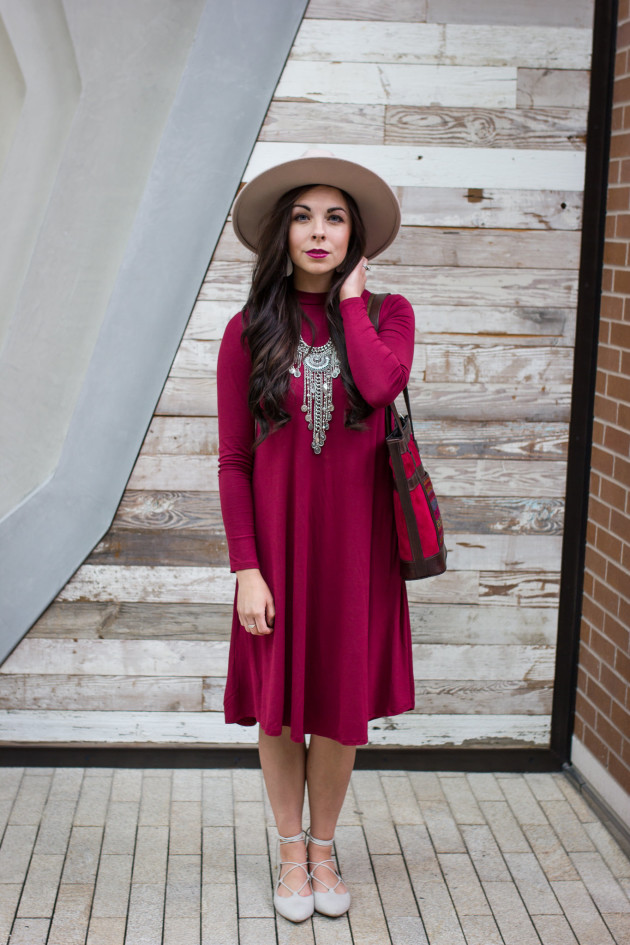 Modest Goddess styles a modest burgundy dress and talks about the popular swing dress trend, a modest trend of 2016.