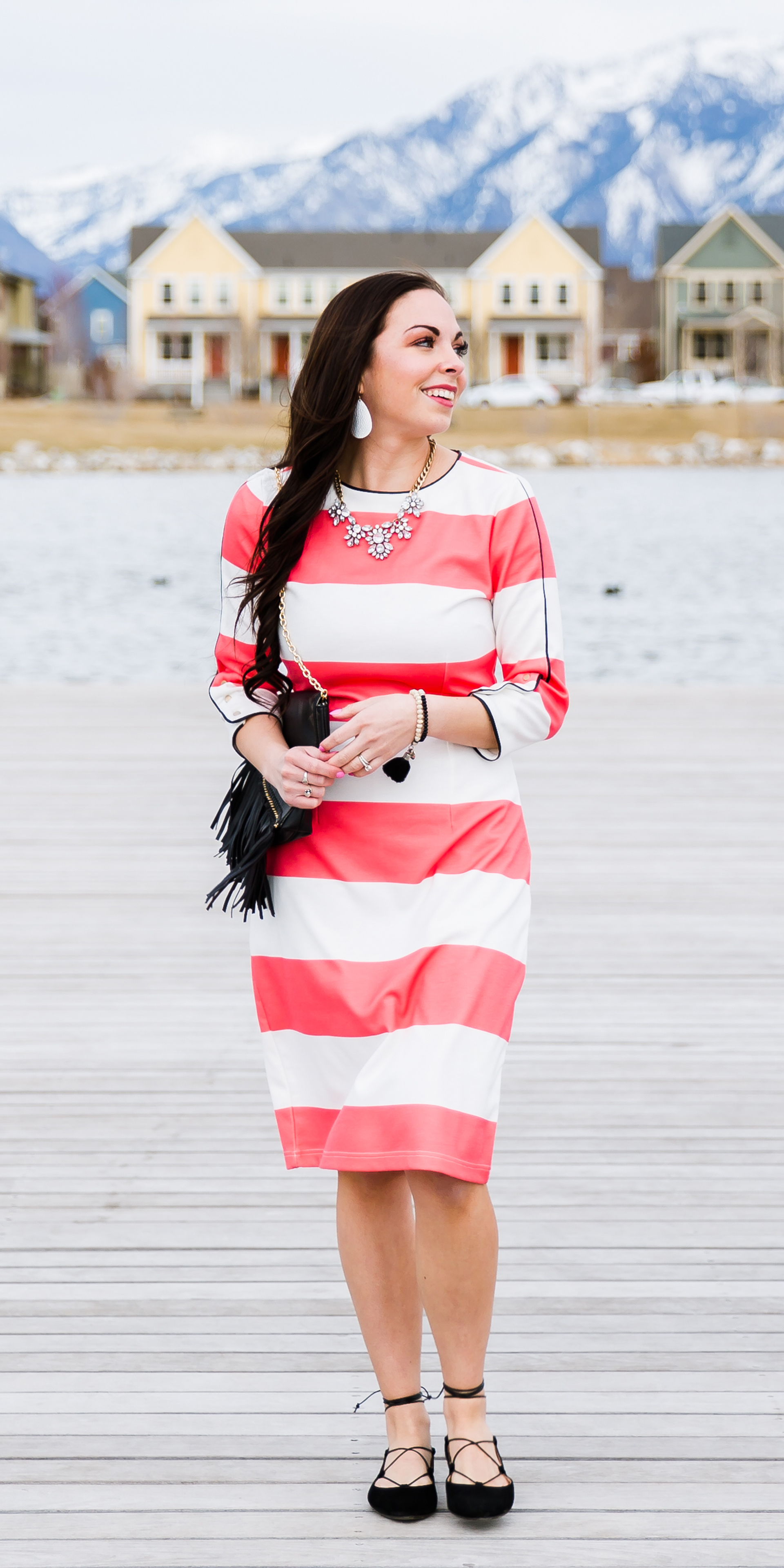 """Pray Always"" Modest Coral Striped Dress & Uplifting Accessories"