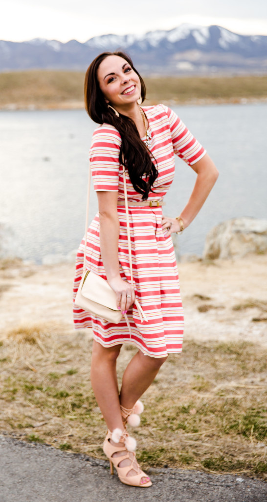 Modest fashion blogger Modest Goddess styles a springy modest striped easter dress for easter.