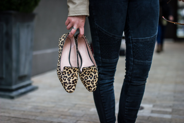 Modest Goddess styles moto jeans with calf hair leopard flats.