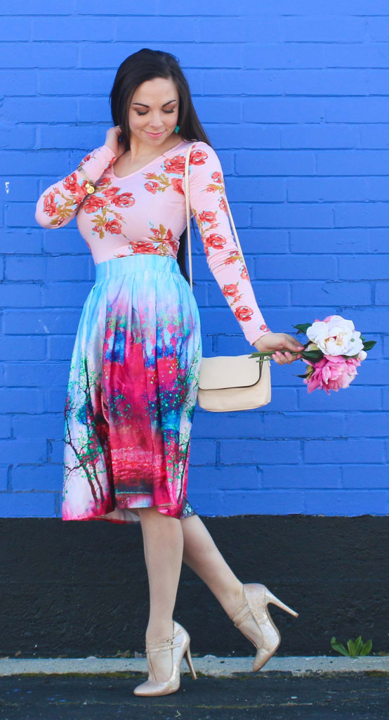 Modest Goddess styles a watercolor midi skirt with florals for a sweet spring modest outfit