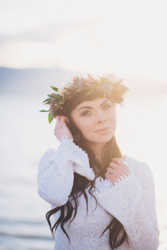 Forehead double braid crown and flower crown bridal hair and bridal flower crown.