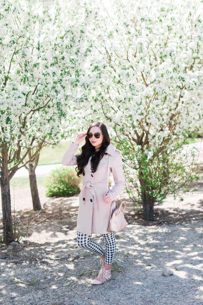 Modest Fashion Blogger Modest Goddess styles a blush and gingham crops modest spring outfit perfect for those chillier spring days!