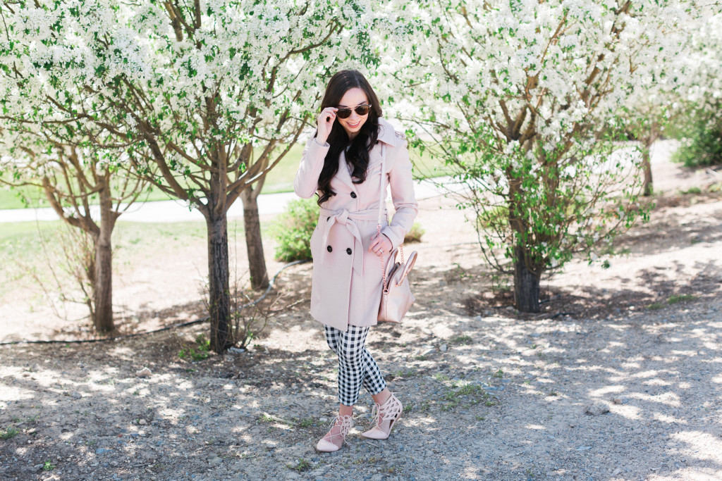 Modest Fashion Blogger Modest Goddess styles a blush and gingham crops modest spring outfit perfect for those chillly spring outfits!