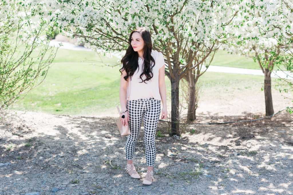 Modest Fashion Blogger Modest Goddess styles a blush modest spring outfit with a modest blush top.