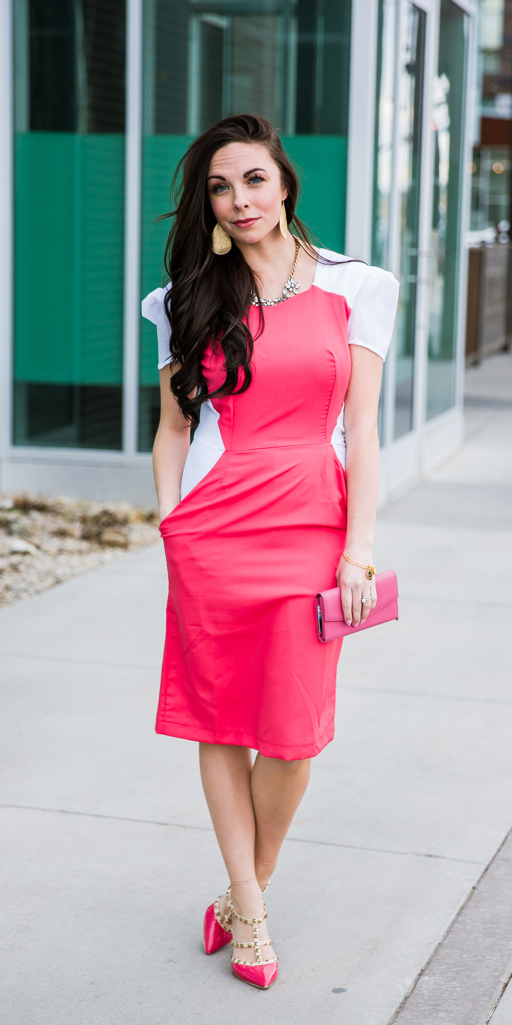 """Girlboss"" Modest Pink Work Dress"