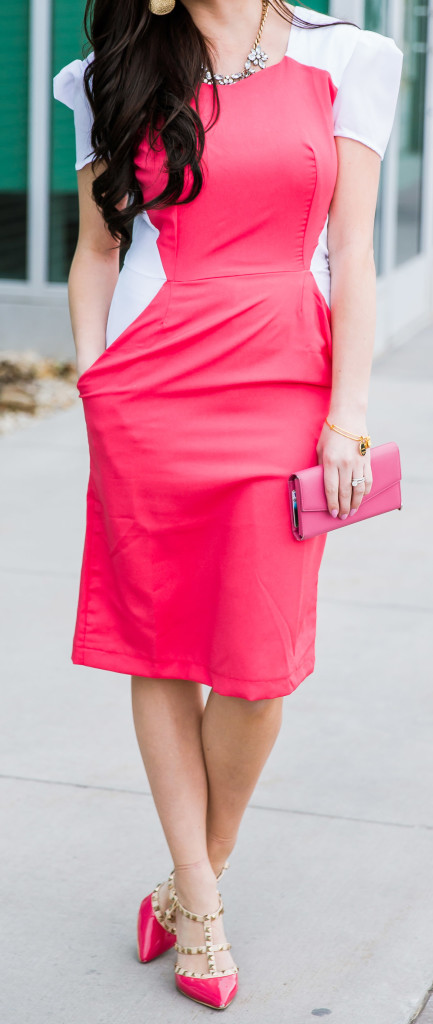Modest fashion blogger Modest Goddess styles a modest pink work dress from Shabby Apple with pink rockstuds.