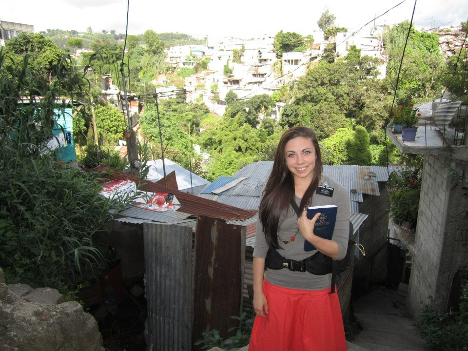 LDS Sister Missionary Hermana Jacobsen in Guatemala City wearing a cute sister missionary outfit.