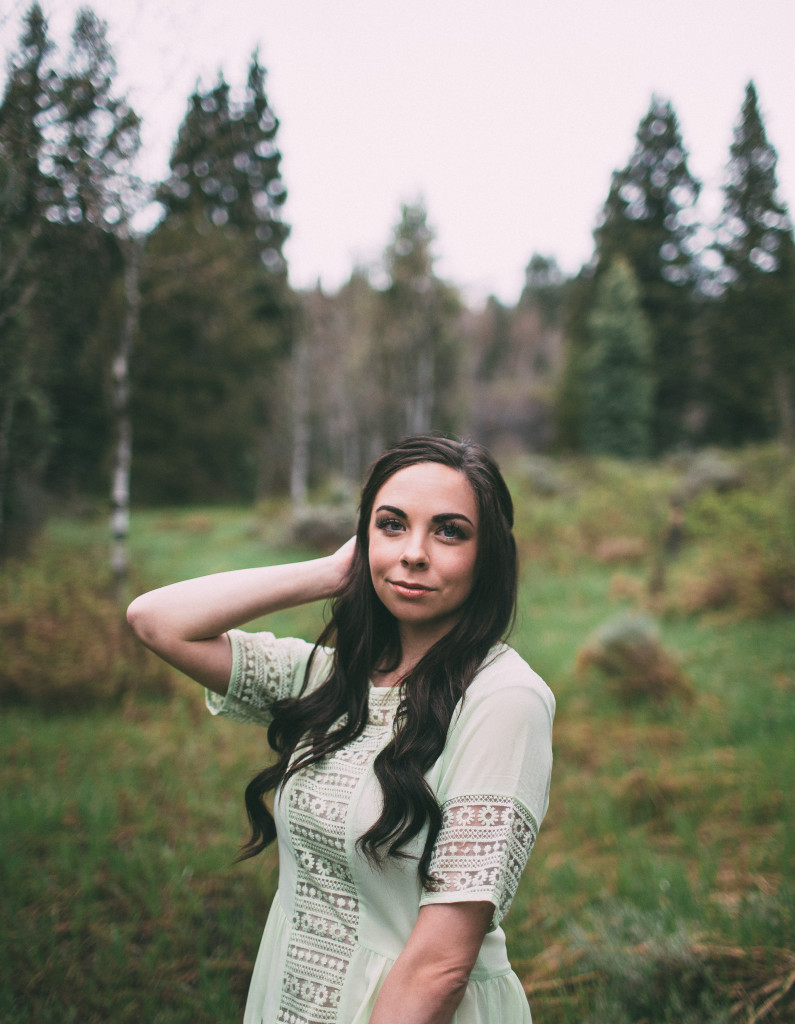 Modest fashion blogger Modest Goddess styles a sheer mint chiffon dress from modest shop Sevan with a honeyslip to modesty hack it and make it modest! This dreamy woodland photoshoot was shot in the beautiful Utah mountains.