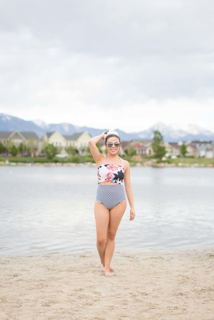 Modest fashion blogger Modest Goddess styles her new favorite modest swimsuit from The Candy Strand Swimwear: diagonal striped high waisted vintage bikini bottoms and a customizable floral tube top, both modest and reversible!