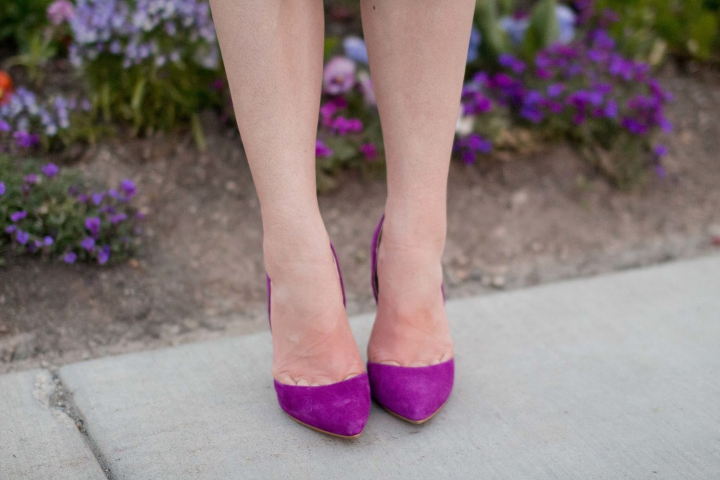Modest fashion blogger Modest Goddess styles purple suede Steve Madden heels.