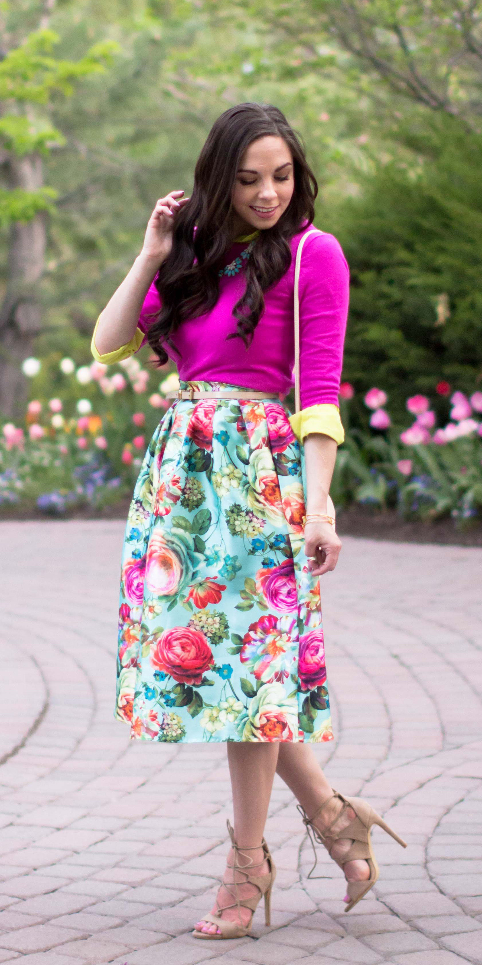 """May Flowers"" Floral Midi Skirt"
