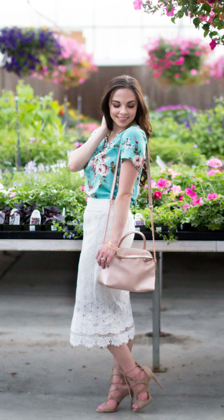 """How Does Your Garden Grow"" Modest Lace Pencil Skirt & Floral Top"