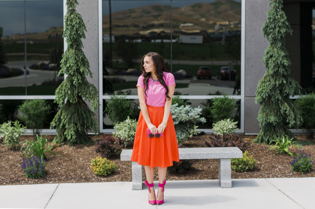 10a72b6fdc Modest fashion blogger Modest Goddess styles a modest orange midi skirt and  a modest embellished pink