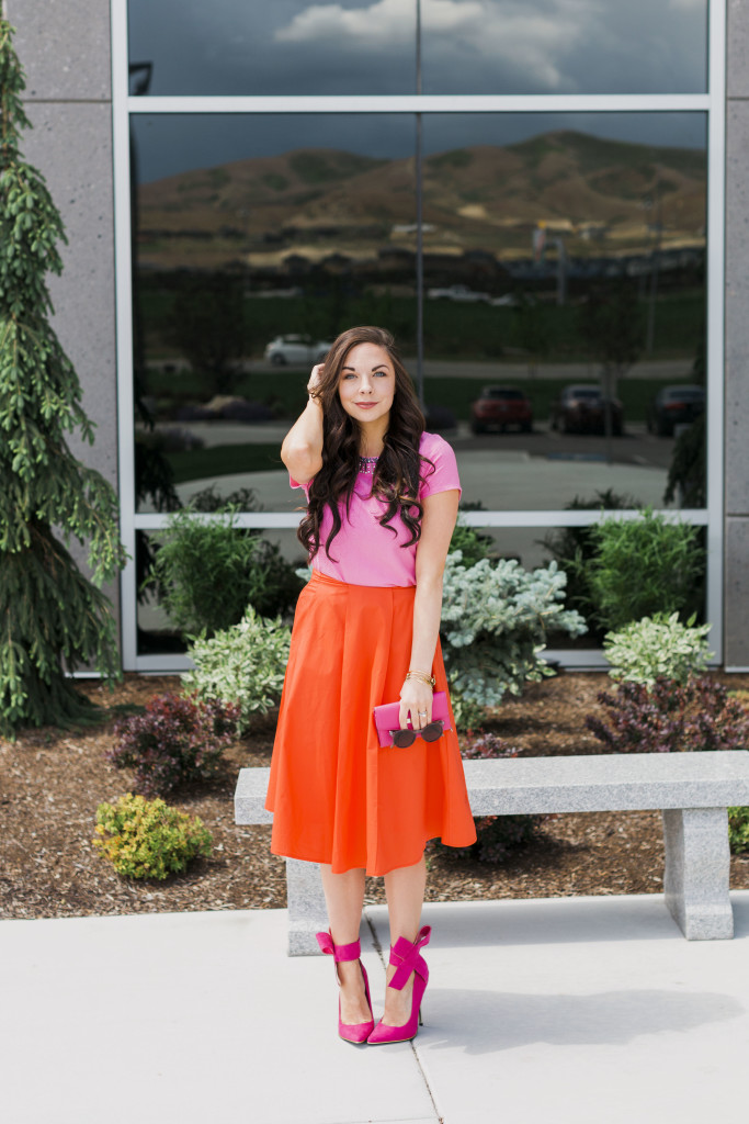 c25ddeb6522 Modest fashion blogger Modest Goddess styles a modest orange midi skirt and  a modest embellished pink ...