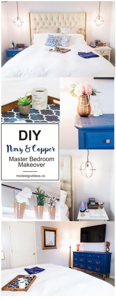 Blogger Modest Goddess redecorates her master bedroom for a DIY navy and copper master bedroom makeover including a DIY upholstered headboard, thrifted furniture, DIY chalk-painted furniture, and DIY spray painted decor!