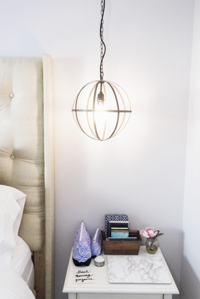 Sphere hanging lights as hanging bedside lamps