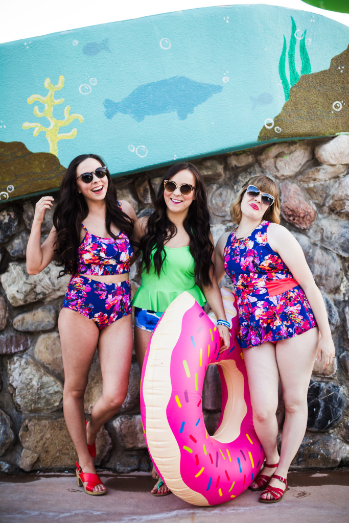 Modest Fashion Blogger Modest Goddess styles a modest 2 piece swimsuit from Lime Ricki. This modest two piece swimsuit is floral print and perfect for short girls with short torsos! These fun summer pictures were taken at Seven Peaks waterpark in Provo, UT.